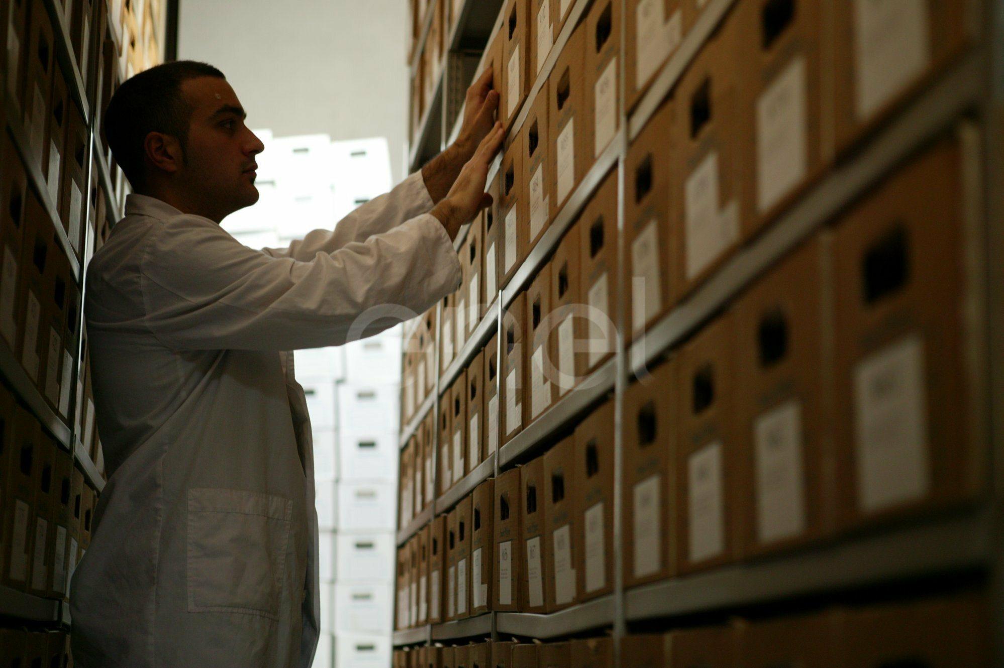 Operatore dell'archivio ordina la documentazione negli armadi mobili compattabili