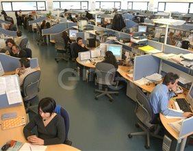 Totale di un'ampia parte del call center