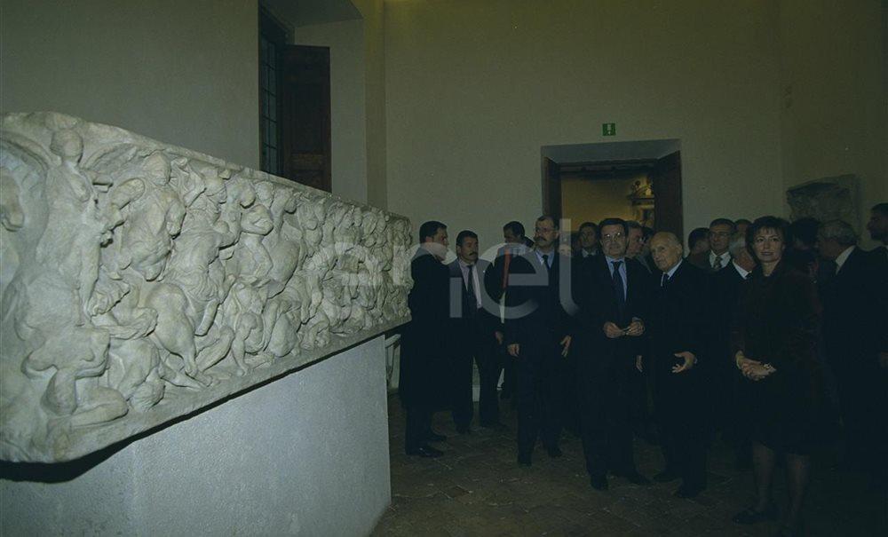 Oscar Luigi Scalfaro, Romano Prodi, Pierluigi Petrini e Matilde De Angelis D'Ossat