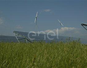 Veduta delle stringhe del campo fotovoltaico di Serre Persano