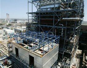 Cantiere della centrale di Sulcis con le caldaie in costruzione