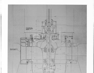 Disegno della turbina della centrale di Ponte Annibale